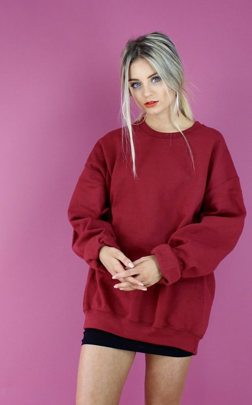 yeezy red baggy slouchy oversized boyfriend sweater jumper