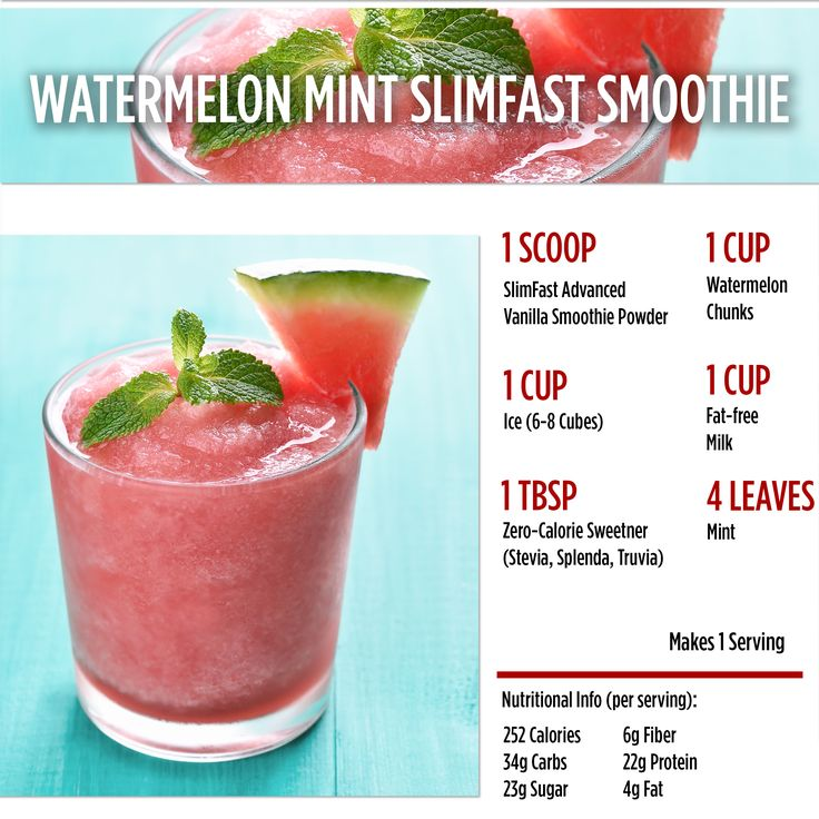 Happy National Watermelon Day! Celebrate with this deliciously refreshing recipe!   SlimFast | Smoothie | Watermelon | Mint