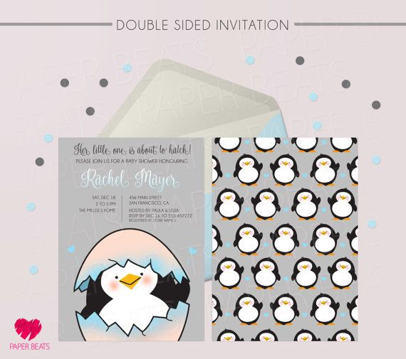Its About To Hatch Invitation   Penguin Baby Shower Invitation   Digital Baby  Shower Invitation   Double Sided Invitation   Penguin Theme