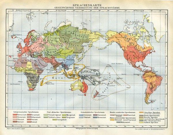 Sprachenkarte Romanisch Germanisch Orig Karte 1892 xz - Billerantik