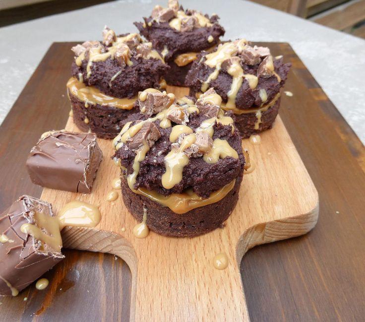 Individual Caramel Mars Bar Brownies