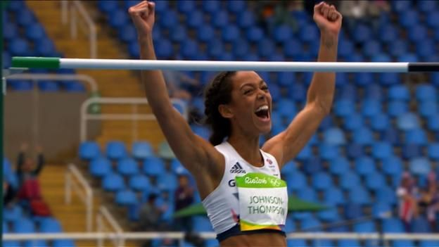 KJT sets a new British high-jump record of 1.98m, and jumps into the lead in the heptathlon after two events. 12th August 2016