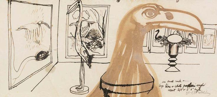 Brett Whiteley (Australian, 1939-1992), Eagle. Mixed media on paper, 20 x 45 cm.