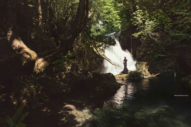 #waterfall #photoshoot #forest #darkforest #blackdress #lovethenature