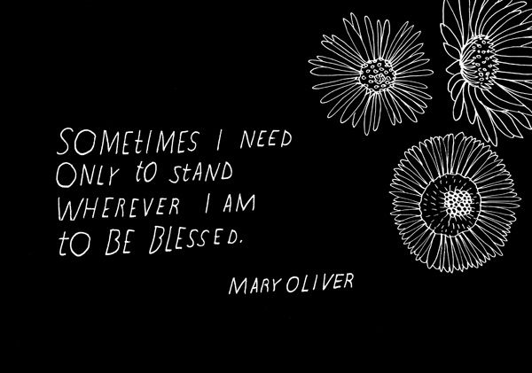 Sometimes I need only to stand wherever I am to be blessed. -Mary Oliver - 20 Beautifully Illustrated Quotes From Your Favorite Authors