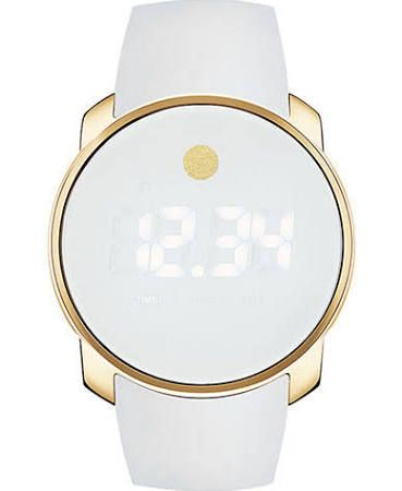 Women's Movado Bold Unisex Gold Tone and White Digital Watch White