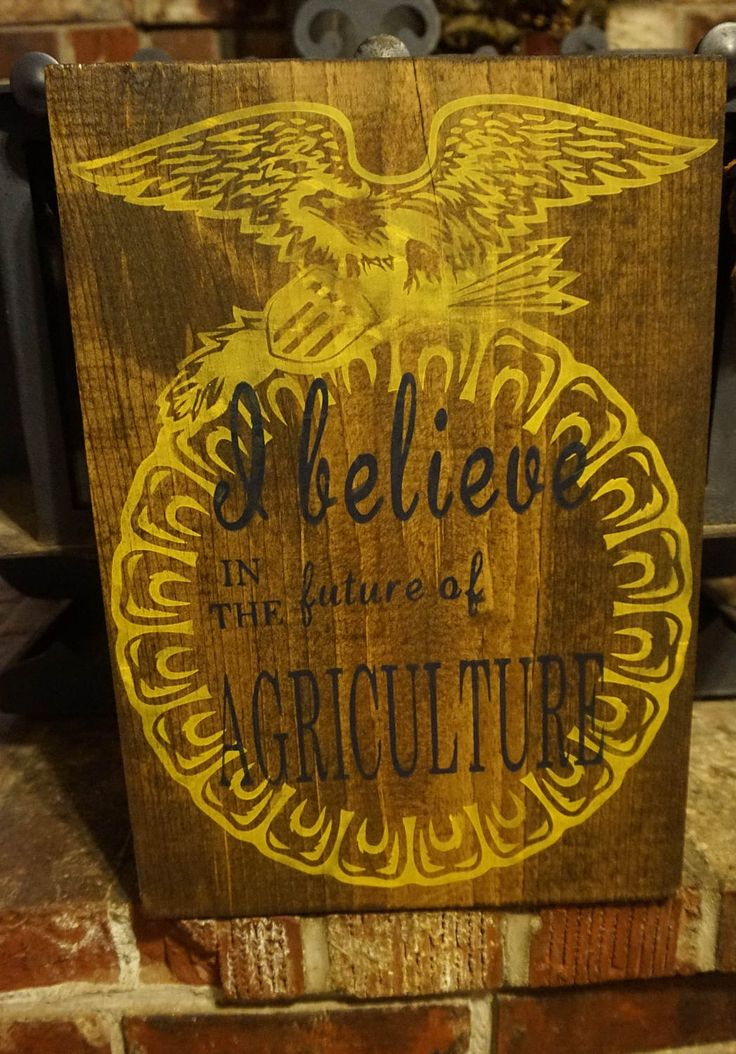 This sign is a great way to celebrate FFA! It would be a perfect gift for an FFA adviser or a great addition to a classroom. This sign measures 12x16 and comes ready to hang. The wood is stained with a dark walnut, the FFA emblem is painted yellow, and the wording is painted in blue. This sig