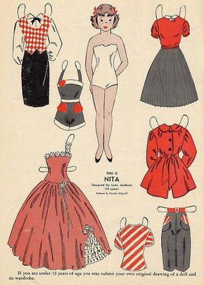 Wee Wisdom paper dolls | It is a tad levelling to realize that little girls had nicer wardrobes ...Nita