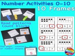 Printable Maths Centre Activity COUNTING NUMBERS 0-10 TEN FRAMES  Teaching Resources - TES