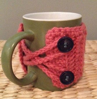 Crochet Mug Cozy (Pick Your Own Colors/Buttons) Pictured: Ribbed Pink with Navy Buttons. via Etsy.