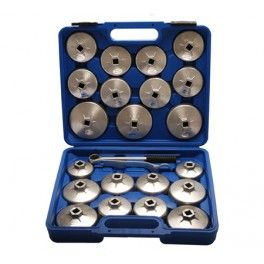 """Juego 23 Piezas Cazoletas de Aluminio para Filtros de Aceite. - 1 carraca reversible 1/2"""" - 1 Llave de 27 mm. www.motortool.es"""