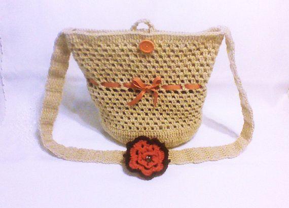 Beige crochet shoulder bag Hand crochet Beach by HandmadeTrend, $26.00