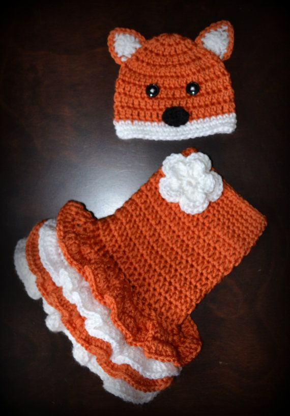 Crochet Fox Baby Beanie Hat & Matching Tutu Dress Photo Prop Custom Made Boy Girl Costume
