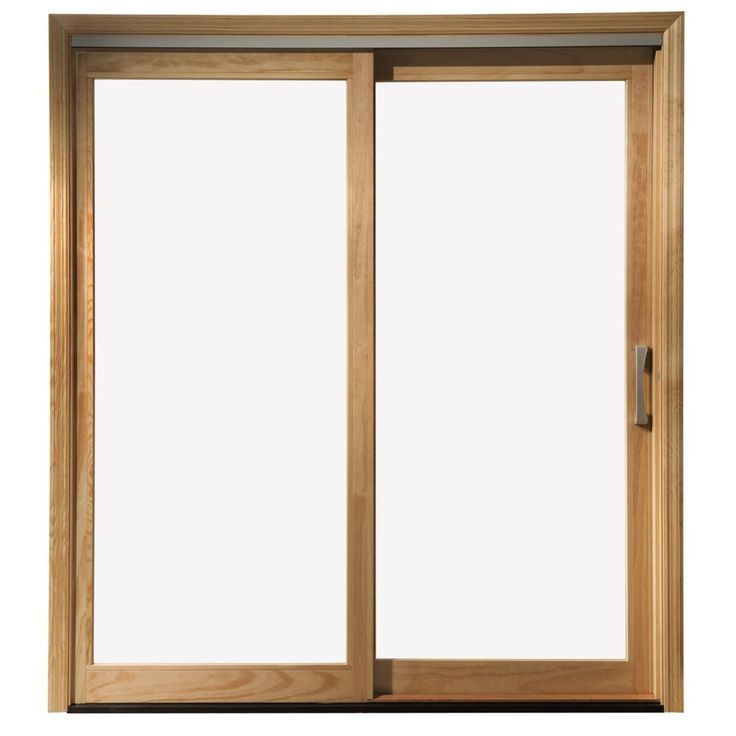 Shop pella 450 series clear glass wood sliding for Sliding glass front door
