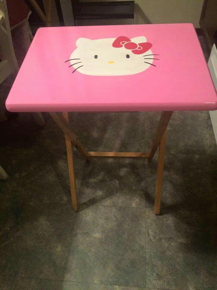 Hello Kitty painted wooden TV tray