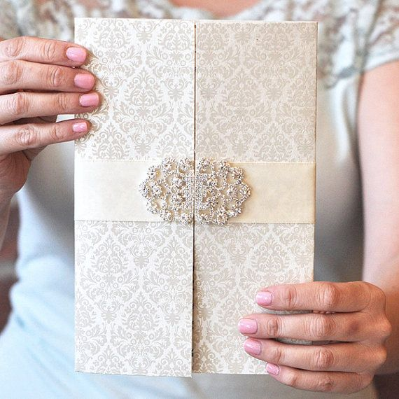 Luxury Wedding Invitation, Damask Wedding Invitation, Crystal Buckle Wedding Invitation - Alyssa Collection by Engaging Papers by @engagingpapers