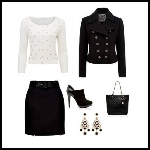 İşlemeli beyaz kazak ve fermuar detaylı siyah etek... Klasikleri farklılaştırmayı seviyoruz.