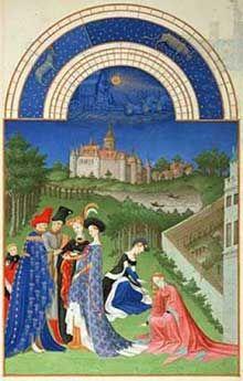 """Les frères Limbourg (Pol, Hermann et Jean, actifs entre 1370 et 1416): Les """"Très Riches Heures du Duc de Berry"""". Le Mois d'avril. Condé, Musée Chantilly"""