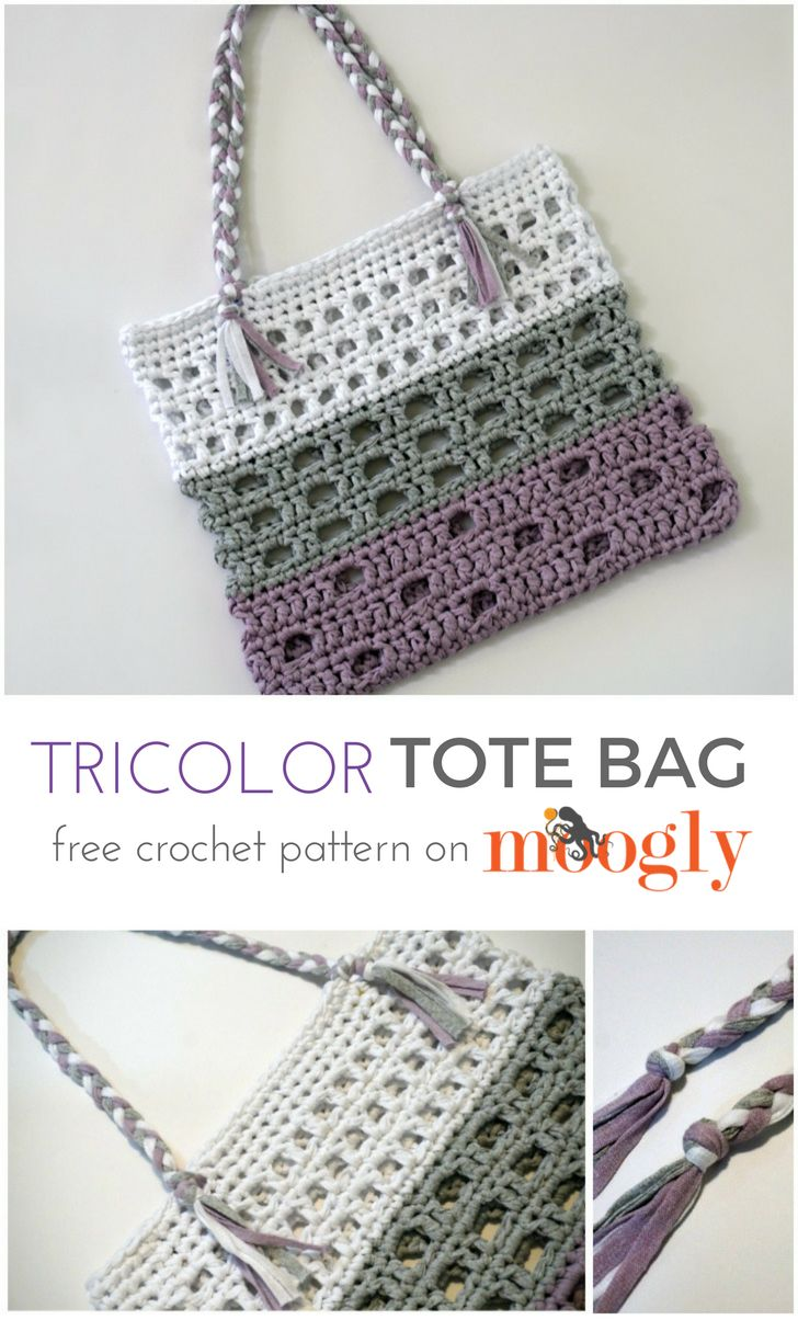 Tricolor Tote - free crochet pattern on Mooglyblog.com!