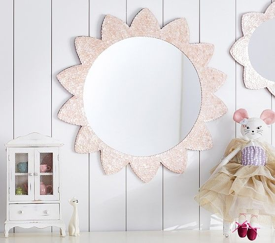 Large pink sunflower capiz mirror pottery barn kids for Kids room mirror