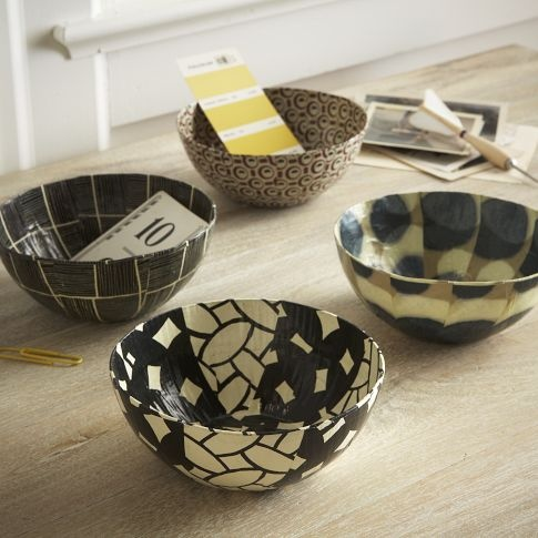 Would be another easy DIY for desk organization - modge podge cool paper over little bowls