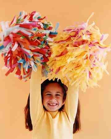 Little football fans can create their own fluffy pom-poms out of tissue paper.