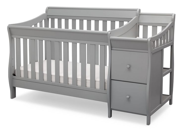 Delta Children Bentley S Convertible Crib N Changer, Grey. Converts from crib to: toddler bed, daybed, and full size bed with headboard and footboard (daybed rail included; toddler guardrail and full size bed rails sold separately). Strong and sturdy wood construction, 3 position mattress height adjustments. Changer includes two shelves and two wooden drawers, water-resistant changing pad with safety strap included. Fits standard size crib mattress (sold separately) tested for lead and…