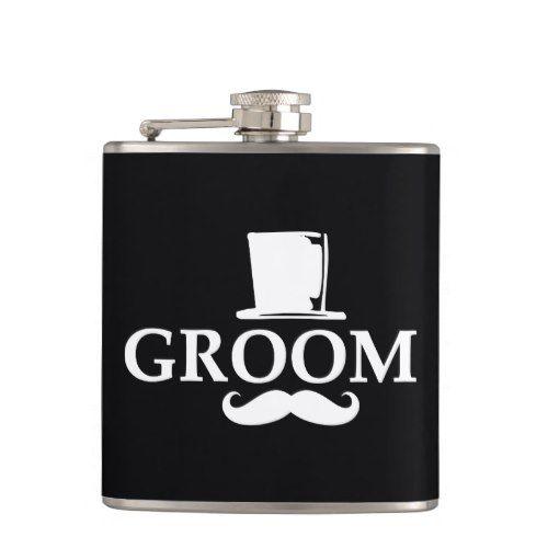 Mustache Groom Hip Flask