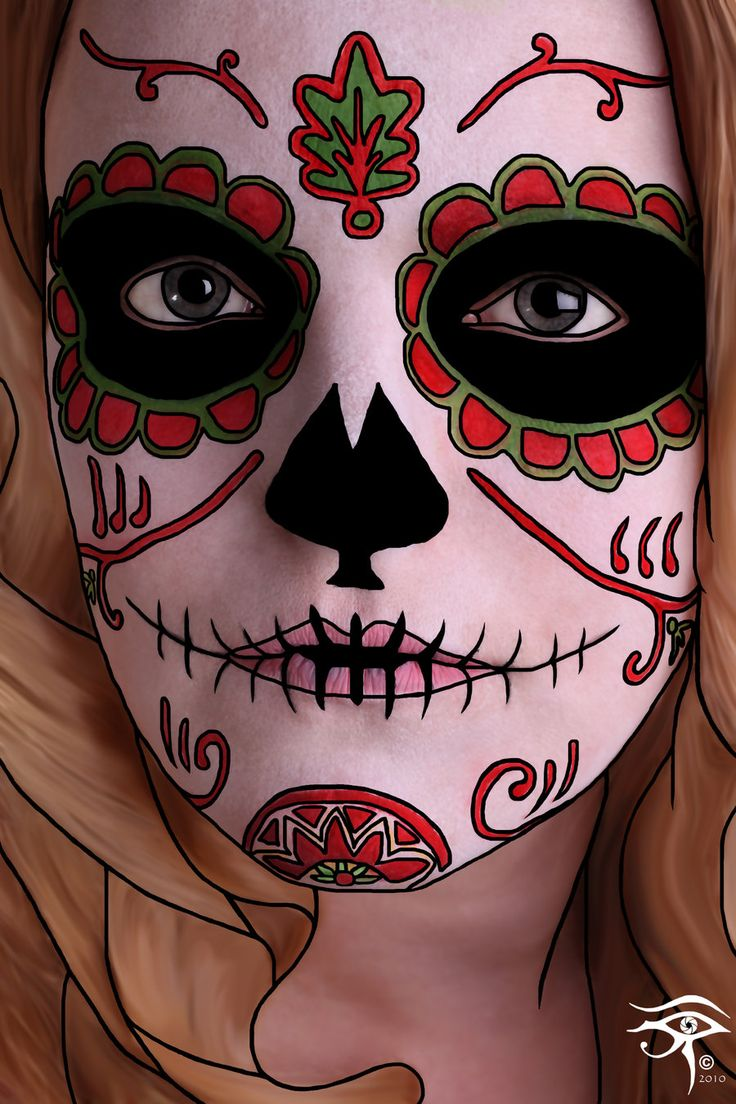 Sugar Skull makeup. Wow. Though I think the photo has been altered to enhance the effect.