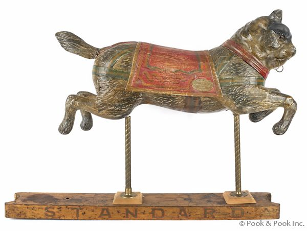 early 20th c. carousel cat, French: early 20th c. carousel cat, French