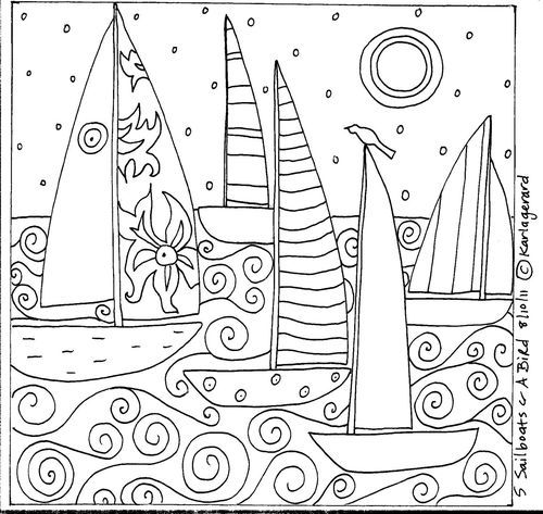 Rug Hook Paper Pattern 5 SAILBOATS  A BIRD Folk Art Abstract Primitive KARLA G | eBay