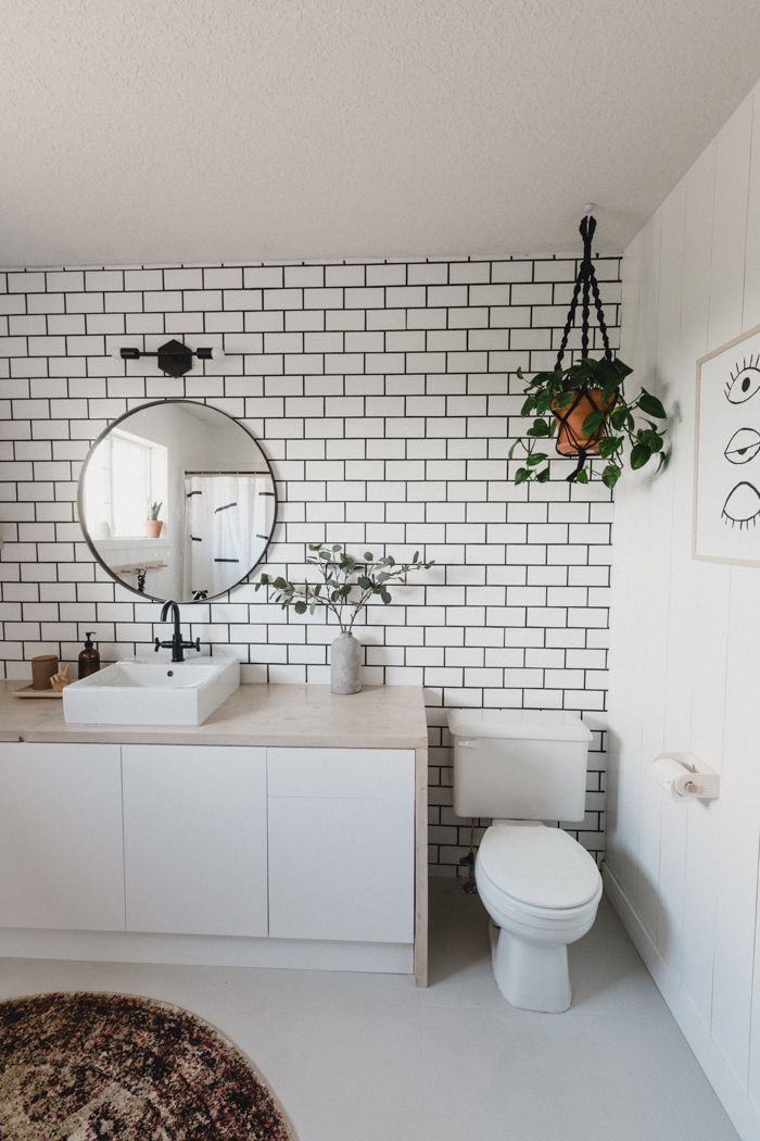 A New Bathroom Accent Wall How To Hang A Mirror On Tile Love Create Celebrate Bathroom Accent Wall Bathroom Accents Tile Accent Wall