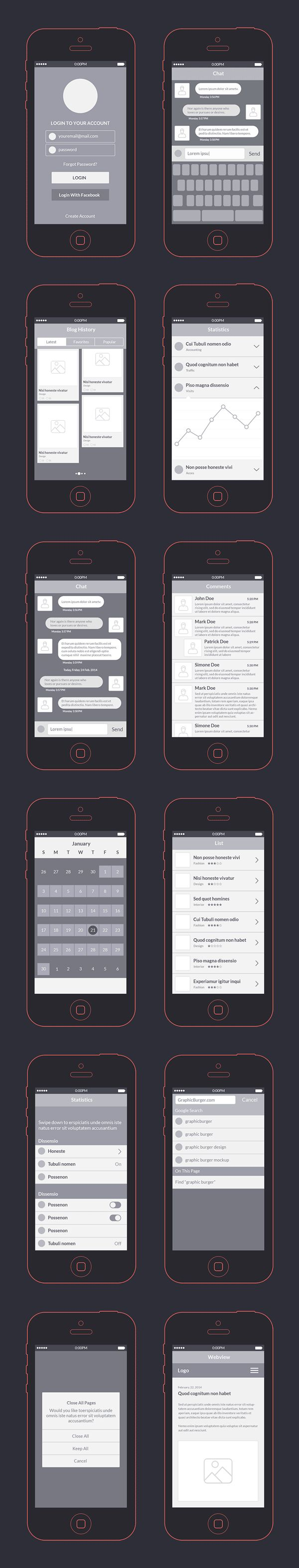 Free App Wireframes Kit PSD