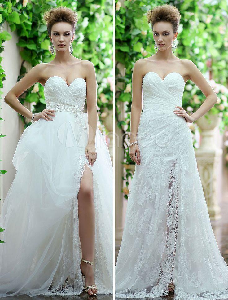 Vestido de noiva marfim franzido sereia tomara-que-caia decote coração em renda com saia de tule removível e fenda