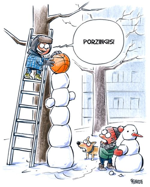 Gatis Sluka www.karikatura.lv mycartoons cartoon nba basketball snow snowman dog winter nba basketball Knicks new york knicks porzingis kristaps porzingis kristaps ball funny new york kp6 nyknicks