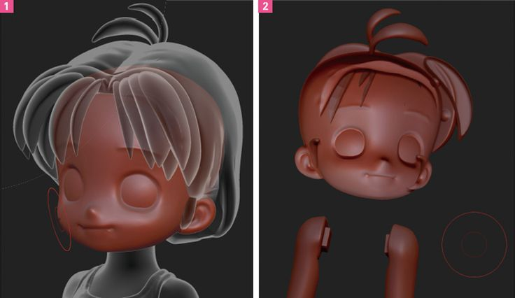 zbrush anime face: 3d Chibi Anime ZBrush Face And Hair