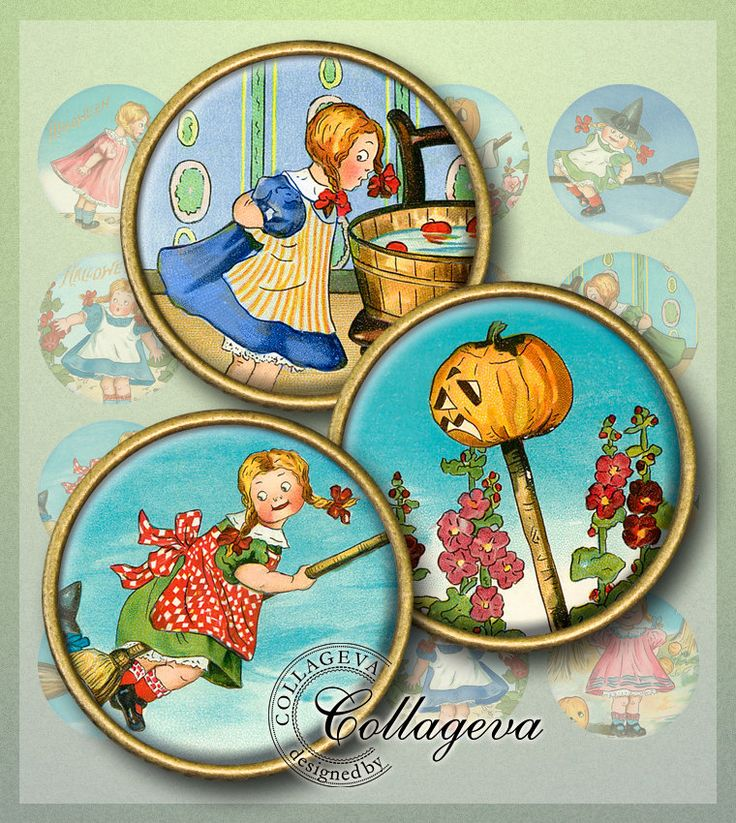 "Halloween Girl Digital Collage Sheet 1.5"" 1.25"" 30 mm 25 mm 1 inch circles, Witch Pumpkin Scarecrow Moon Game Broom INSTANT DOWNLOAD (EC06-c by collageva on Etsy"