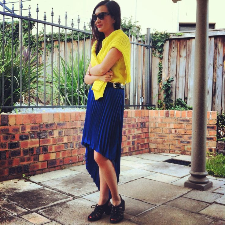 Wearing Asos and vintage. Bold yellow and cobalt blue.