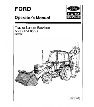 FORD NEW HOLLAND 555C, 655C BACKHOE LOADER OPERATOR'S