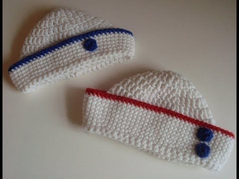 Crochet Sailor Hat Part 2 for Babies 0-3 Months -- Perfect for the baby of two US Navy parents! :)