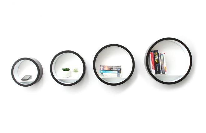 Etageres murales rondes - Noir et blanc HUBLOT