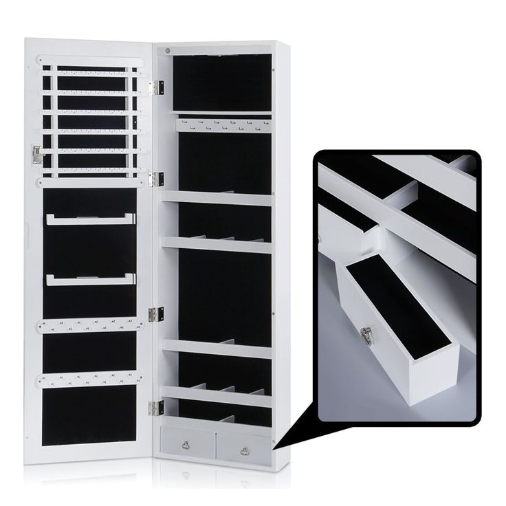 Lifewit Lockable Full Length Mirrored Jewelry Cabinet