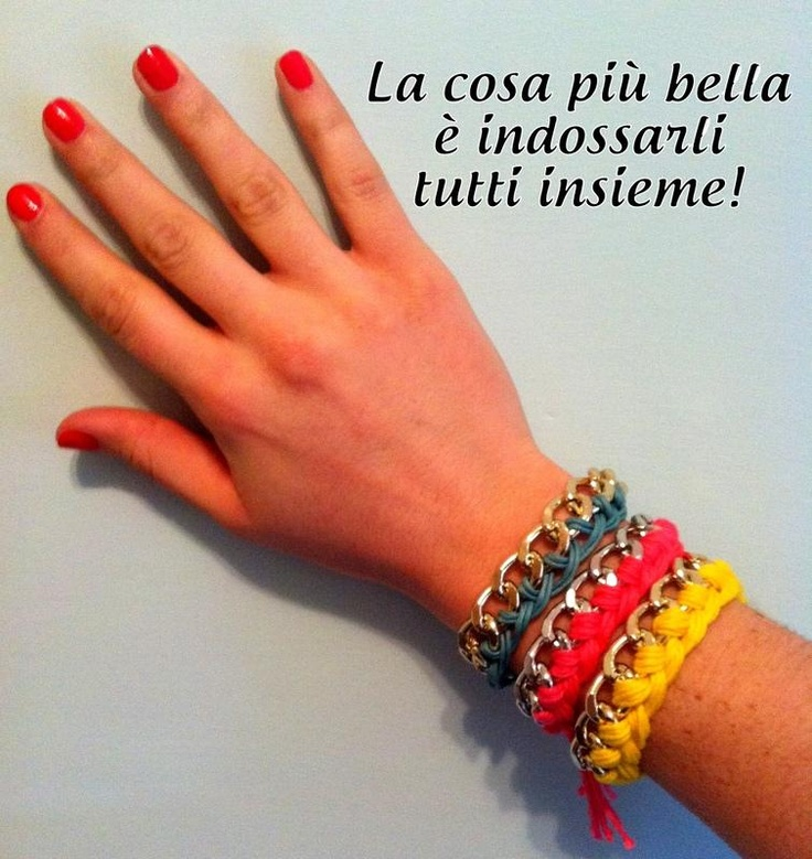 Fai da te: I bracciali a catena con intreccio di cotone