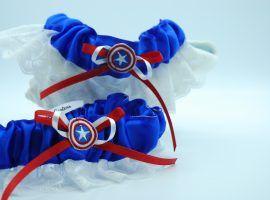 """""""Captain America"""" themed garter set."""