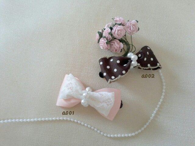 Handmade hairclip pink n brown polkadot