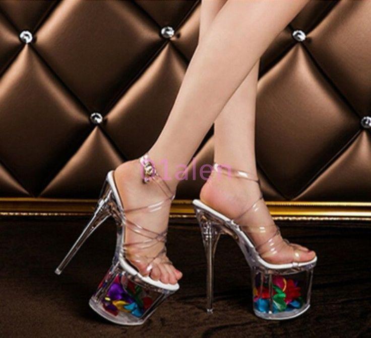 Womens Super High Heels Wedding Floral Strappy Clear Transparent Platform Sandal
