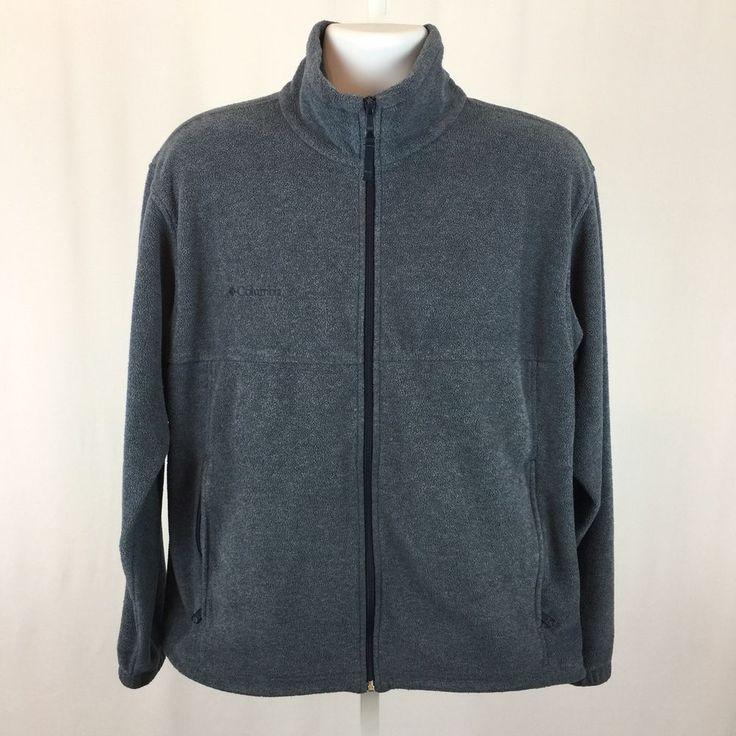 COLUMBIA Mens Fleece Jacket Size M Full Front Zip Blue Gray Zippered Pockets  #Columbia #FleeceJacket