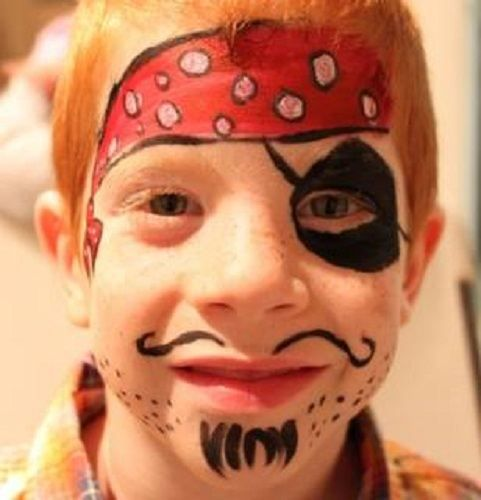 Another pirate face painting done at a birthday party