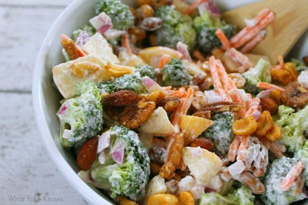 Broccoli and apple salad with seasoned nuts best for Easy cold side dishes for christmas