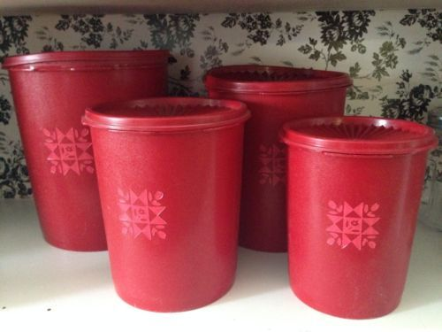 Vintage Red Tupperware Canister Set With Lids 4pc